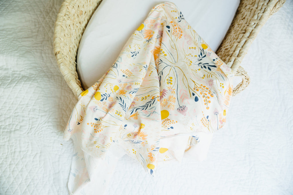 cream floral newborn girl swaddle blanket