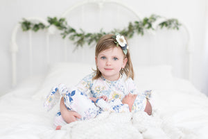 blue floral big sister little sister set newborn coming home outfit