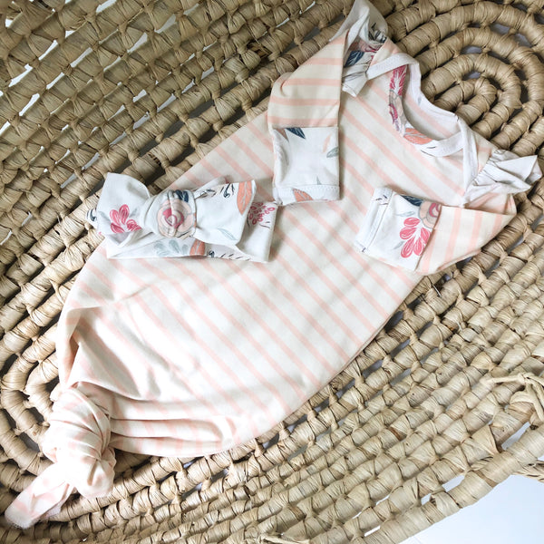 striped infant gown with ruffle shoulder