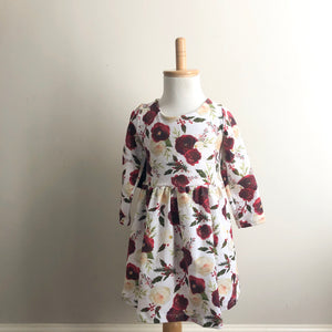Burgundy Holly floral dress