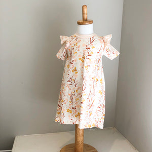 Flutter sleeve fall floral dress