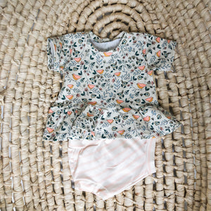 Baby Girl Summer Outfit in Vintage Birds