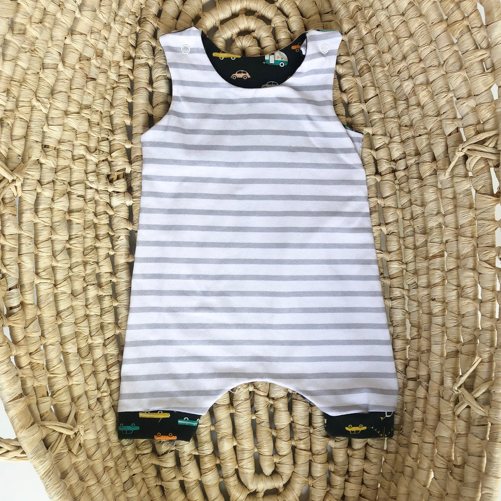 Boys Summer Outfit, Stripe Romper Shorts