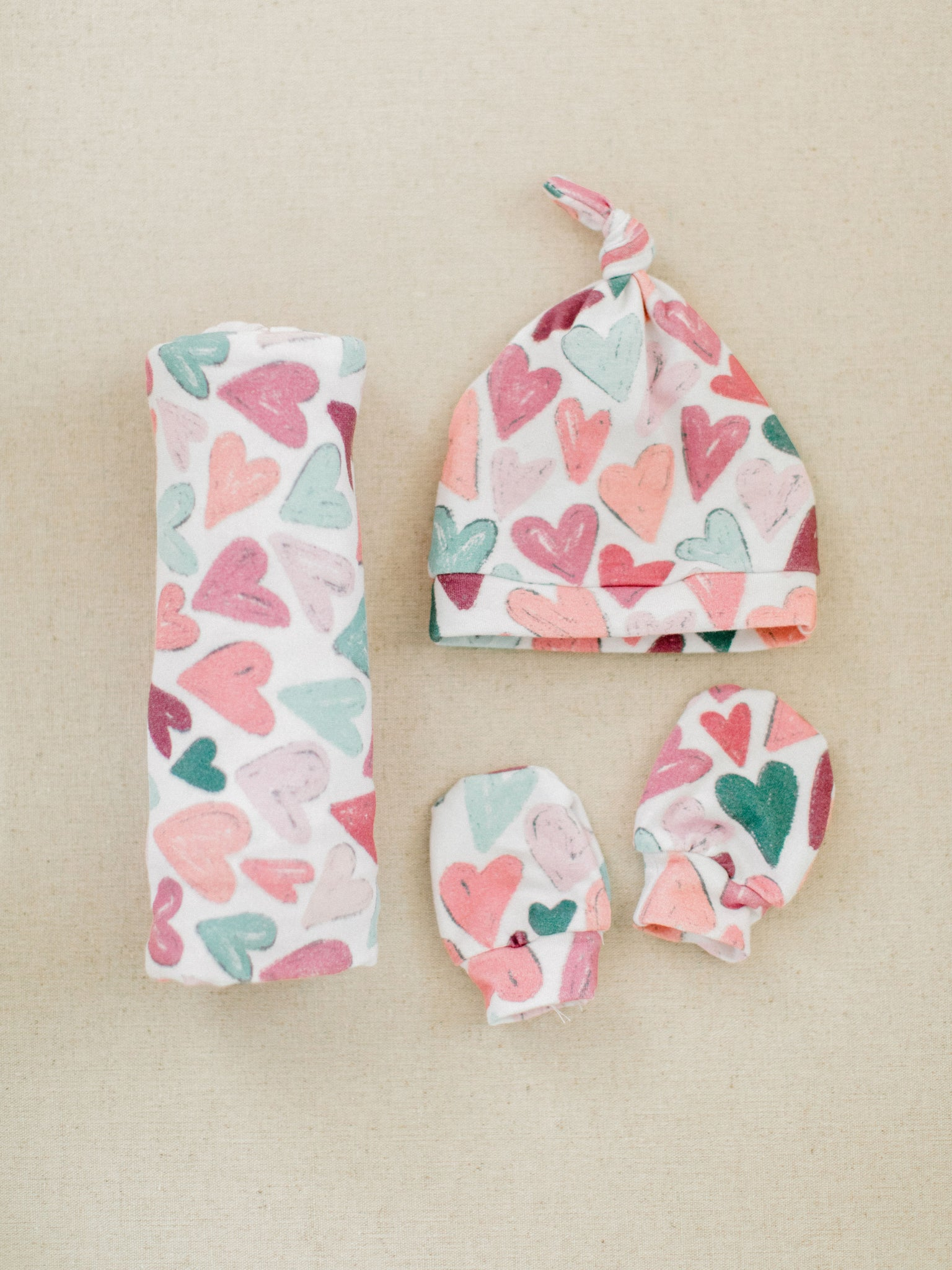 heart-print-swaddle-newborn-set-hat-mittens-for-kids-handmade-childrens-boutique