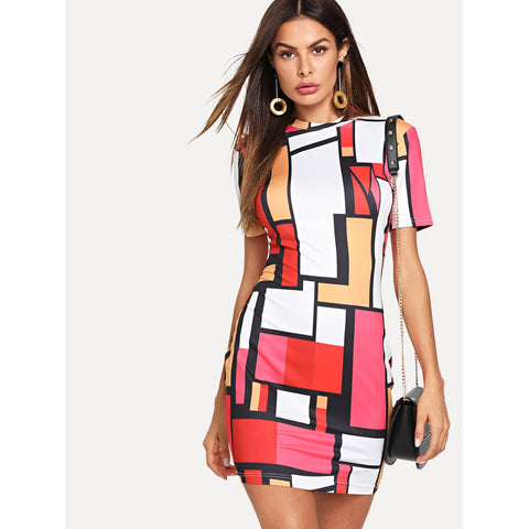 Geometrical Contrast - Trendi Fashions Boutique