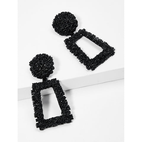 Open Rectangle Textured Drop Earrings - Trendi Fashions Boutique