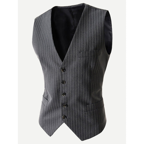 Pointed Hem Striped Vest - Trendi Fashions Boutique