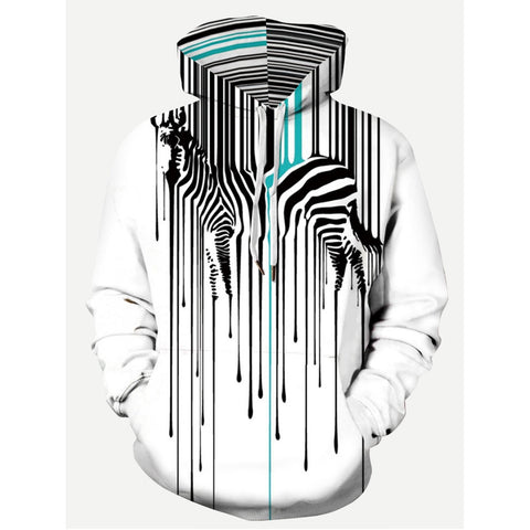 Zebra Print Hooded Sweatshirt - Trendi Fashions Boutique