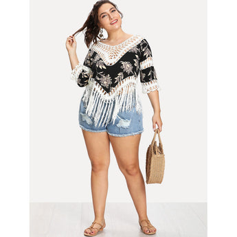 Plus Floral Print Fringe Hem Cover Up - Trendi Fashions Boutique