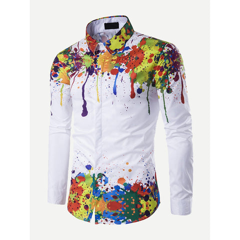 Paint Drip Print Shirt - Trendi Fashions Boutique