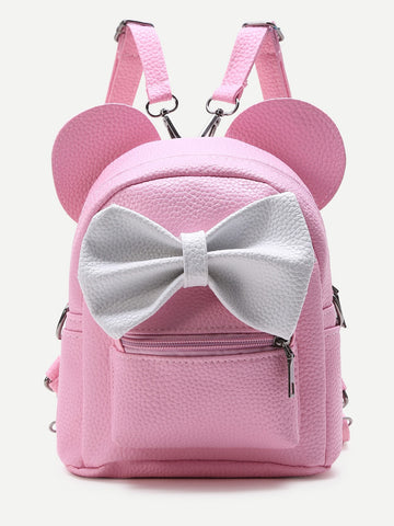 Pink Ear Shaped Backpack With Bow - Trendi Fashions Boutique