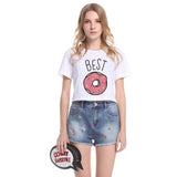 Funny Best Friends T Shirt Donut And Coffee Duo - Trendi Fashions Boutique