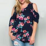 Plus Size Blouse Floral Printed Half Sleeve Shirt - Trendi Fashions Boutique