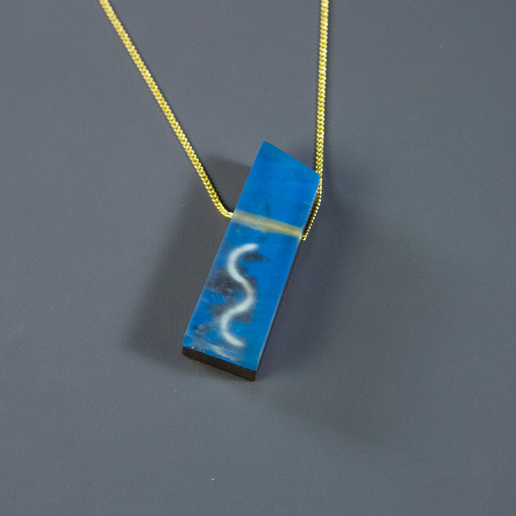 Blue Squiggle Walnut Pendant