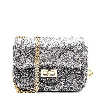 Silver Glitter Turn Lock Crossbody