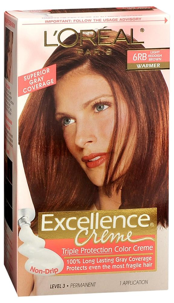 L'Oreal Paris Excellence Creme Permanent Hair Color, 6rb Light Reddish Brown, 100% Gray Coverage Hair Dye, Pack Of 1