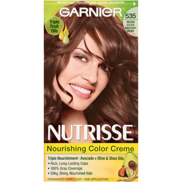 Nutrisse Nourishing Color Creme # 535 Medium Golden Mahogany Brown by Garnier for Unisex - 1 Applica