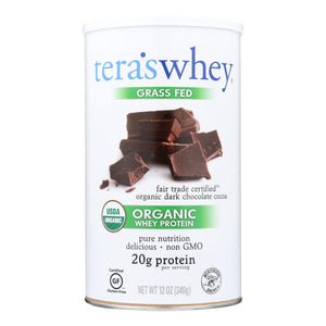 Teras Whey Protein Powder - Whey - Organic - Fair Trade Certified Dark Chocolate Cocoa - 12 oz