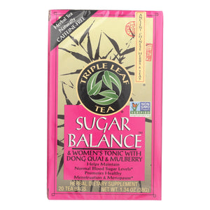 Triple Leaf Tea Sugar Balance Decaffeinated Tea - 20 Tea Bags - Case of 6