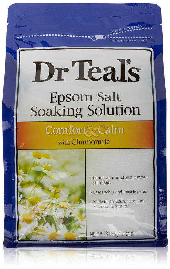 Dr Teals Pure Epsom Salt Soaking Solution Comfort & Calm W/ Chamomile 3lbs
