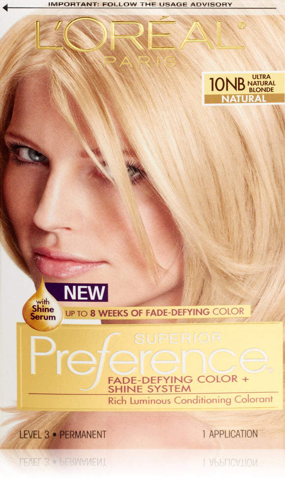 L'Oréal Paris Superior Preference Fade-Defying + Shine Permanent Hair Color, 10nb Ultra Natural Blonde, 1 Kit Hair Dye