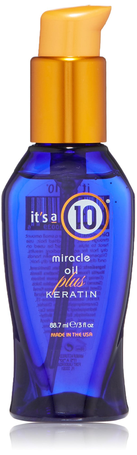 Miracle Oil Plus Keratin by Its A 10 for Unisex - 3 oz Oil