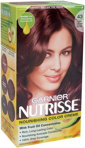 Garnier Nutrisse Nourishing Hair Color Creme, 43 Dark Golden Brown (Cocoa Bean) (Packaging May Vary),1 Count