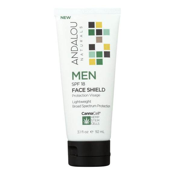 Andalou Naturals Cannacell Men Spf 18 Face Shield 3.1 Fl Oz