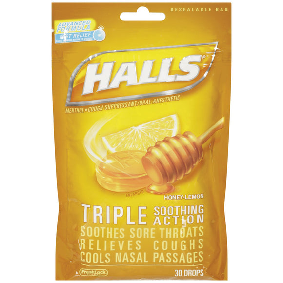 Halls Honey Lemon Cough Dropsincludes One 30 Ct. Bag Of Halls Honey Lemon Flavor Cough Drops.