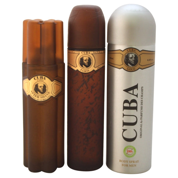 Cuba Gold by Cuba for Men - 3 Pc Gift Set 3.3oz EDT Spray, 6.7oz Deodorant Body Spray, 3.3oz After S