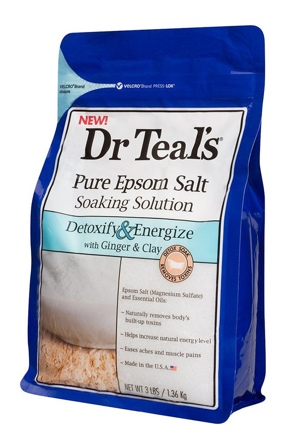 Dr Teals Pure Epsom Salt Soaking Solution Detoxify & Energize With Ginger & Clay 3 Lb