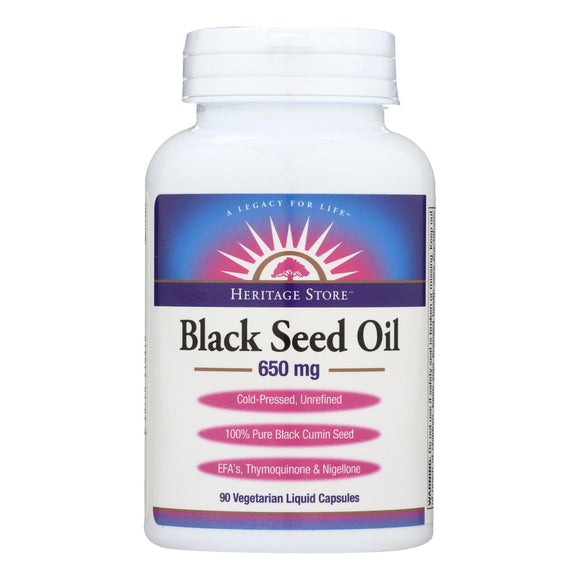 Heritage Store Black Seed Oil Dietary Supplement  - 1 Each - 90 VCAP