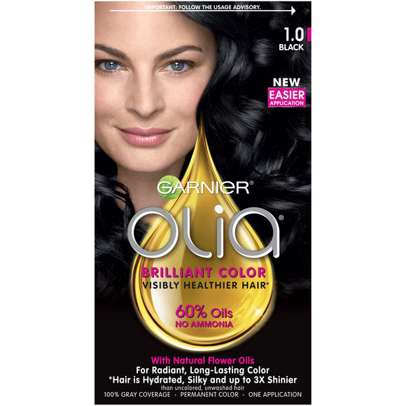 Garnier Olia Ammonia-Free Brilliant Color Oil-Rich Permanent Hair Color, 1.0 Black (Pack Of 1) Black Hair Dye (Packaging May Vary)