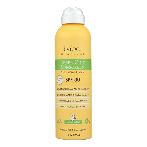 Babo Botanicals Sunscreen - Fragrance Free - Case of 1 - 6 fl oz.
