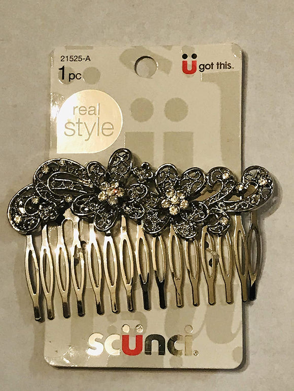 Metal Floral Side Comb 1 Ct