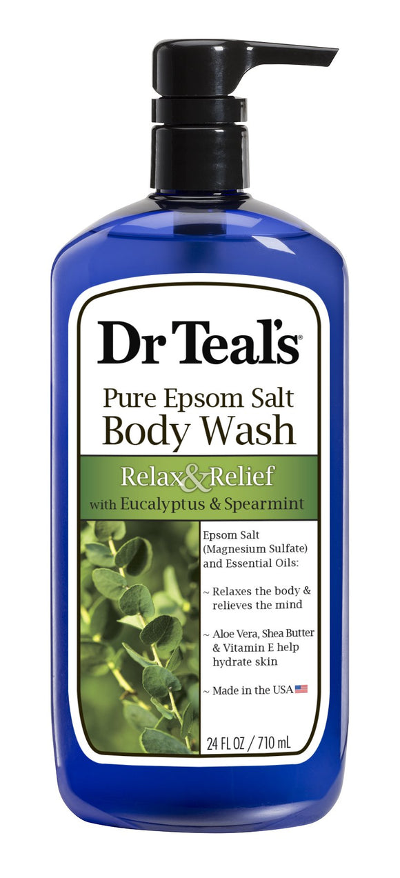 Dr Teals Pure Epsom Salt Body Wash Relax & Relief With Eucalyptus & Spearmint 24 Oz