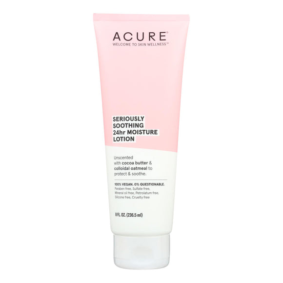 Acure - Lotion - Seriously Soothing 24 Hour Moisture - Unscented with Cocoa Butter - 8 fl oz.