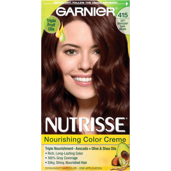 Nutrisse Nourishing Color Creme - 415 Soft Mahogany Dark Brown by Garnier for Women - 1 Application