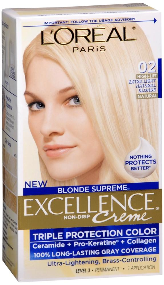L'Oreal Paris Excellence Creme Permanent Hair Color, 02 Extra Light Natural Blonde, Pack Of 1 Kit 100% Gray Coverage Hair Dye