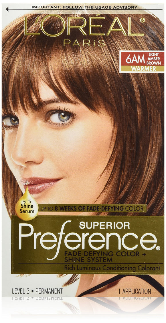 L'Oréal Paris Superior Preference Fade-Defying + Shine Permanent Hair Color, 6am Light Amber Brown, 1 Kit Hair Dye