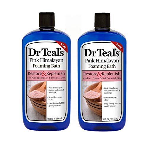 Dr Teals Pink Himalayan Foaming Bath Restore & Replenish With Pure Epsom Salt & Essential Oils 34 Oz