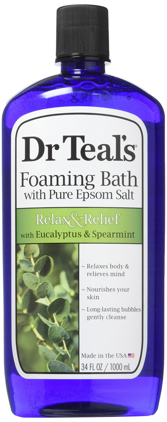 Dr Teals Pure Epsom Salt Foaming Bath Relax & Relief With Eucalyptus & Spearmint 34 Fl Oz