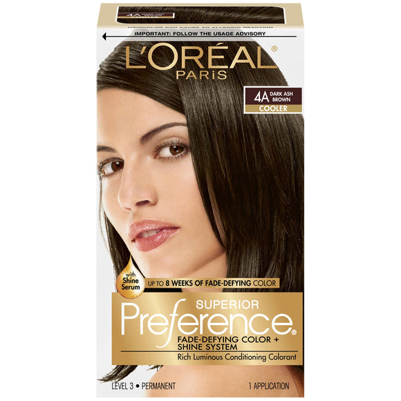 L'Oréal Paris Superior Preference Fade-Defying + Shine Permanent Hair Color, 4a Dark Ash Brown, 1 Kit Hair Dye