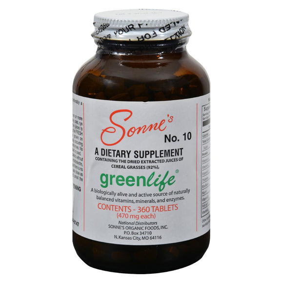Sonne's Greenlife No 10 - 360 Tablets