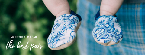 Baby's first shoes handmade in Maine by Two Little Beans & Co.