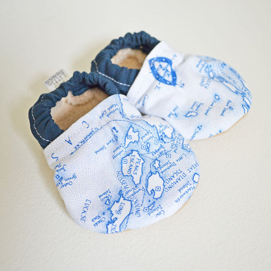 Baby Booties - Coast of Maine Map