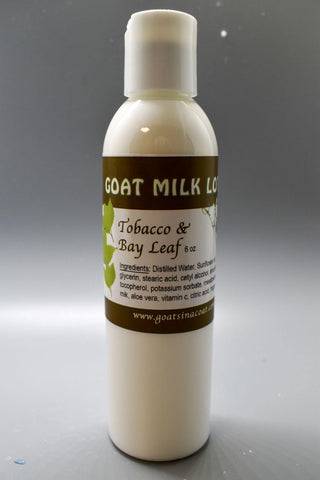 Tobacco and Bay Leaf Goat Milk Lotion 6 ounces