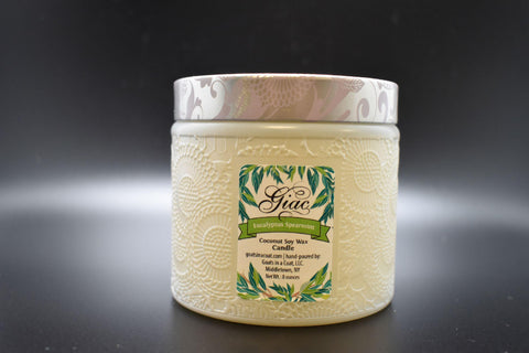 Eucalyptus Spearmint Coconut Soy Wax Candle 8 ounce