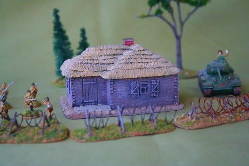 FOS3005 L-shaped square log house w/ Thatched roof