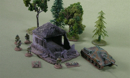 FOS3011 Battle Damaged Small Cottage w/ stucco walls and thatched roof